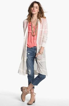 Free People Cardigan, Top & Cutoff Jeans  available at #Nordstrom