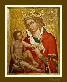 Madonna of Veveri, c1350 - Master of the Vyssi Brod Altar. OR?? Eichhorn Madonna, Master of the Eichhorn Madonna, Eichhorn, Moravia, c. 1350. Tempera on wood. Narodni Galeri, Prague. Note veil edging