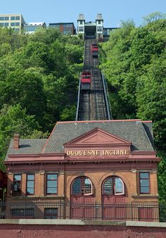 Duquesne Incline, opened in 1877, operating in Pittsburgh, Penn., with the original cars.