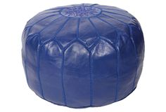 One Kings Lane - Room in Bloom - Moroccan Pouf, Indigo