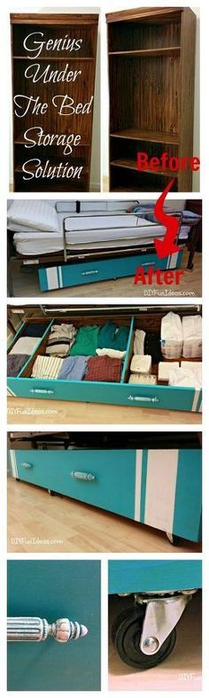 GENIUS DIY UNDER THE BED STORAGE SOLUTION. Great upcycle idea for storage under the bed, made from an old bookshelf. Get organized with this super easy DIY under the bed storage solution made from an old book shelf. It took me all of one hour to make. Small Bedroom Organization, Bedroom Storage, Diy Organization, Diy Bedroom, Bedroom Ideas, Organizing Ideas, Trendy Bedroom, Bedroom Small, Clothing Organization
