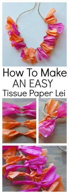 This tutorial shows a quick and easy way to make a tissue paper lei. It's perfect for summer parties, especially Hawaiian or pool party themes, and a craft that the kids can be involved in. It's bright, colorful and will be perfect for your summer entertaining.