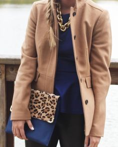 Carly Haslee of A Simple Affair // Camel Jacket, Leopard Clutch, Gold Link Necklace