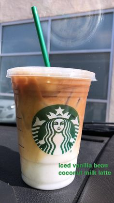 Starbucks Drink grande iced vanilla bean coconut milk latte # Food and Drink coconut milk and Drink coconut milk Starbucks Hacks, Starbucks Secret Menu Drinks, Starbucks Frappuccino, Starbucks Coffee, Starbucks Order, Iced Caramel Latte Starbucks, Starbucks Smoothie, Bebidas Do Starbucks, Healthy Starbucks Drinks