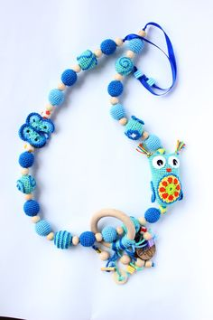 Breastfeeding Necklace in blue tones with a little Owl and a wooden ring of pendants, Nursing necklace, Teething necklace, Mommy necklace