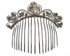 Antique Sterling Silver Comb Miao Chinese Traditional Cone