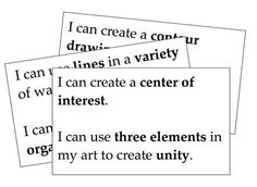 'I can statements' are starting point for creating rubrics and self-assessments