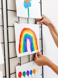 6 Design-Friendly Ways to Display Kids' Artwork Childrens Art Display, Childrens Artwork, Displaying Kids Artwork, Artwork Display, Christian Christmas Crafts, Artwork Pictures, Inspiration For Kids, Art Wall Kids, Creative Kids