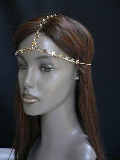 Women Gold Trendy Multi Stars Head Chain Grecian Circlet Fashion Jewelry