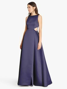 Satin Faille Gown With Cut Outs