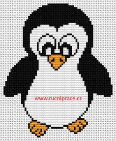 Penguin, free cross stitch patterns and charts - www.free-cross-stitch.rucniprace.cz