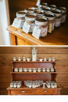 Rustic Farm Wedding Favor Table with Mason Jars Wrapped in Lace with Brown Paper Tags on Dresser