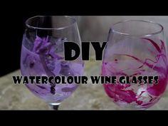 [DIY] WATERCOLOUR WINE GLASSES! - YouTube
