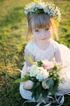 sweet flower girl with a floral wreath | Katherine Miles Jones #wedding