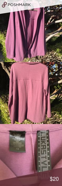 Flattering plum zipper sweat jacket Really nice fitting jacket. I liked it so much, I bought it in two colors -- & this is just not my color-- I think I only wore it a couple times Lucastyle Jackets & Coats