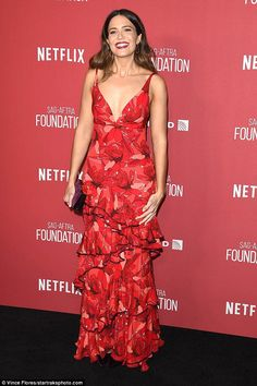 Rule the red carpet in ruffled crimson Johanna Ortiz like Mandy #DailyMail Click to buy now