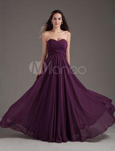 Vestido de damas de honor de chifón de color de uva con escote de corazón - Milanoo.com