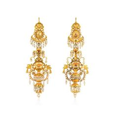 Antique gold filigree urn earrings, circa A pair of antique day-to-night gold filigree, foiled citrine, and seed pearl earrings in the form of stylized urns with foliate and bird motifs, in Probably Neopolitan. Antique Earrings, Antique Jewelry, Vintage Jewelry, Pearl Chandelier, Chandelier Earrings, Vintage Chandelier, Chandeliers, Pearl And Diamond Earrings, Statement Earrings