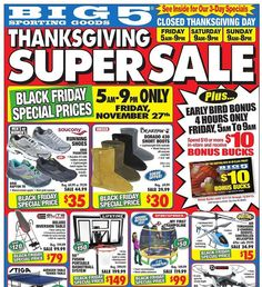 Big 5 Sporting Goods 2015 Black Friday Ad...check out the 16 pages of #BlackFriday deals.