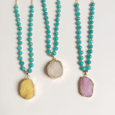 Druzy pendant necklace Pink, yellow, or white druzy strung with turquoise beads, measures 32 inches long. Please comment with color preference if purchasing Immeasurably More Jewelry Necklaces