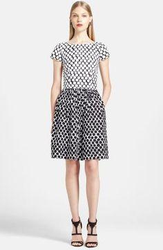 Discount Oscar de la Renta Polka Dot Stretch Cotton Fit Flare Dress Promotion by begoitbuys