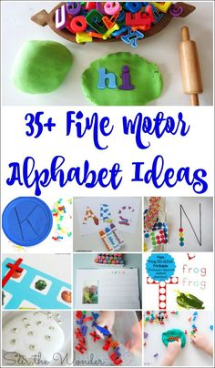 The ulitmate collection of 35 fine motor ideas to celebrate the launch of 100 Fine Motor Ideas for Parents, Teachers and Therapists! Teaching The Alphabet, Learning Letters, Preschool Learning, Toddler Activities, Preschool Activities, Kindergarten Classroom, Motor Skills Activities, Alphabet Activities, Fine Motor Skills