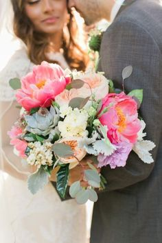 Dazzling peonies, Juliette Roses and succulents: http://www.stylemepretty.com/texas-weddings/2015/06/22/colorful-wild-onion-ranch-summer-wedding/ | Photography: Mint Photography - http://mymintphotography.com/
