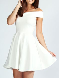 Boat Neck Flare White Dress 15.33