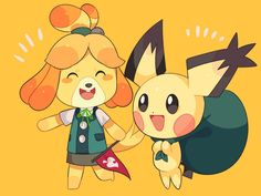 Spiky-eared Pichu & Isabelle.