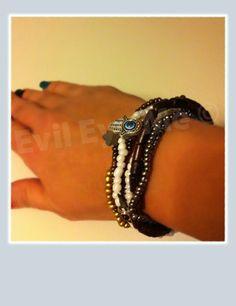 WhiteBrownGoldGray Khamsa Bracelet by EvilEyeMe on Etsy, $19.99