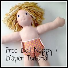 Say 'Hello' to Bonnie! (And to a free doll nappy / diaper pattern) — Willow and Stitch Doll Sewing Patterns, Doll Clothes Patterns, Sewing Blogs, Sewing Tutorials, Sewing Ideas, Bib Pattern, Free Pattern, Baby Sewing, Free Sewing