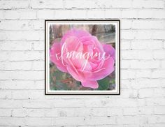 Check out this item in my Etsy shop https://www.etsy.com/listing/232780558/art-print-8x8-pink-rose-photo-imagine By Jen Monson #artprint #etsy #forsale #homedecor #walldecor #smallbusiness #watercolor #wallart #inspirationalquote #flower #photography #nature #pink #imagine