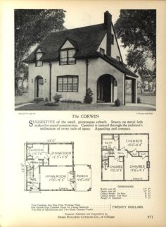 The CORWIN - Home Builders Catalog: plans of all types of small homes by Home Builders Catalog Co.  Published 1928