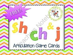 FREE! SH-CH-J Game Cards for Articulation Practice from The T.L.C. Shop on TeachersNotebook.com -  (5 pages)