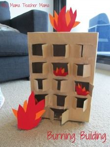 How cute! Easy burning building for fire truck play