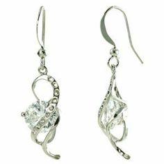Spiral Ribbon over White Cubic Zirconia Diamond Dangle Earrings le Jane. $19.00. Save 44%!