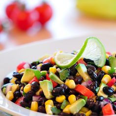 Black Bean, Avocado, and Lime Salad | Jennifer's Kitchen I added red pepper, and mango (omitted avocado)