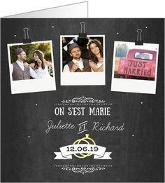carte de remerciements mariage polaroids ardoise disponible en 4 formats et 2 coloris diffrents - Remerciement Mariage Personne Absente