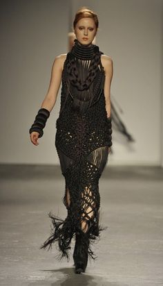 beatifully crafted macrame dress.