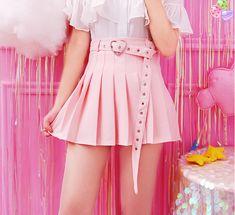 Modakawa - High Waist Pleated A-Line Skirt Pure Color Heart Belt High-Waist Pleated A-Line Skirt Harajuku Mode, Harajuku Fashion, Kawaii Fashion, Lolita Fashion, Cute Fashion, Trendy Fashion, Fashion Outfits, Outfits Kawaii, Kawaii Clothes