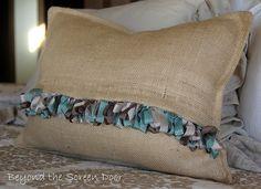 Ribbon Fringe Burlap Pillow Cover
