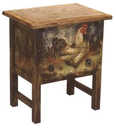 This fascinating chest has a remarkable hand-painted rooster design on the front and sides, 3 drawers, and a light colored, contrasting top. Hand-crafted in Peru.