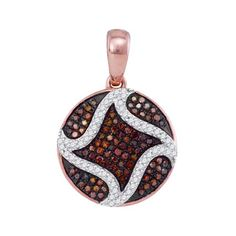 Circle Shape Style Champagne And White Round Micro Pave Diamonds Pendant (0.33ct. tw)- 40493439