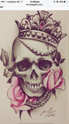 Small Skull Tattoo, Skull Tattoo Flowers, Skull Rose Tattoos, Skull Tattoo Design, Leg Tattoos, Flower Tattoos, Body Art Tattoos, Sleeve Tattoos, Celtic Tattoos