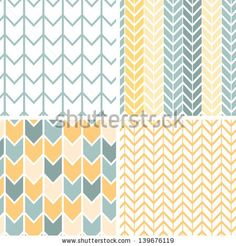 Vector set of four gray and yellow chevron patterns and backgrounds by Oksancia, via ShutterStock