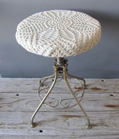 Charming Vintage Doiley Stool by GallivantingGirls on Etsy