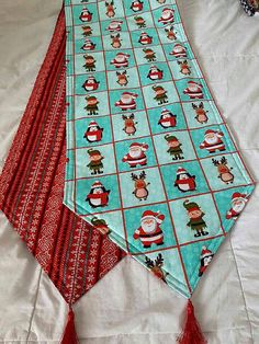 Santa and Friends Holiday Themed Reversible Table Runner 72x14 Handmade and Padded