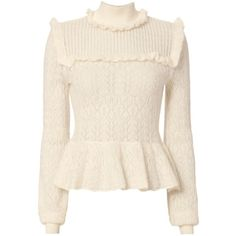 Intermix Women's Lila Pointelle Sweater ($325) ❤ liked on Polyvore featuring tops, sweaters, ivory, high neck top, high neck sweater, long sleeve sweater, flare tops and long sleeve tops