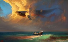 Digital artist Artem Rhads Cheboha has created an amazing series of digital artworks depicting fantasy scenes of flying whales and other sea creatures above the clouds. Whale Illustration, Illustration Pictures, Graphic Illustrations, Whale Art, Sea Whale, Matte Painting, Sky Painting, Whale Painting, Watercolor Whale
