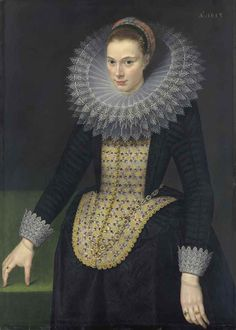 Cornelis van der Voort (?Antwerp c. 1576-1624 Amsterdam) Portrait of a lady, three-quarter-length, in a black vlieger brocade gown, with an elongated embroidered stomacher, lace-trimmed cuffs and a cartwheel ruff trimmed with reticella lace